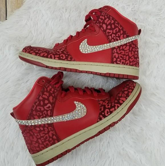 Sparkle Crystal Swoosh Nike Leopard Red Hi Tops. M 5b24116145c8b3c79192a3e3 8d3008775